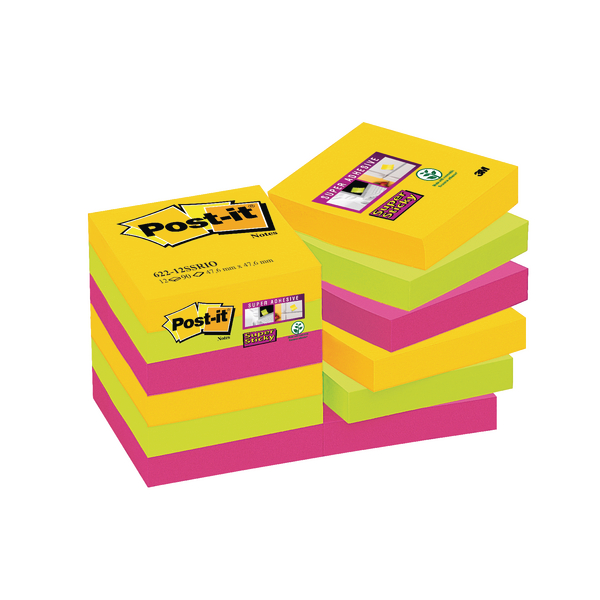 Post-it 47.6 x 47.6mm Rio Super Sticky Notes (12 Pack) 622-12SSRIO