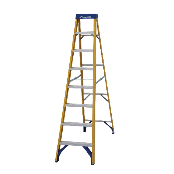 Abru Fibreglass Swingback Step Ladder 8 Tread Yellow 71608