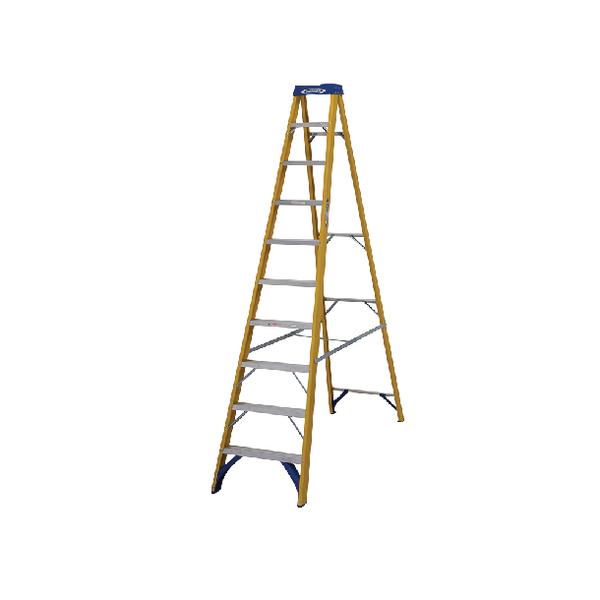 Abru Fibreglass Swingback Step Ladder 10 Tread Yellow 71610