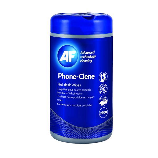 AF Phone-Clene Telephone Wipes Tub (100 Pack) APHC100T
