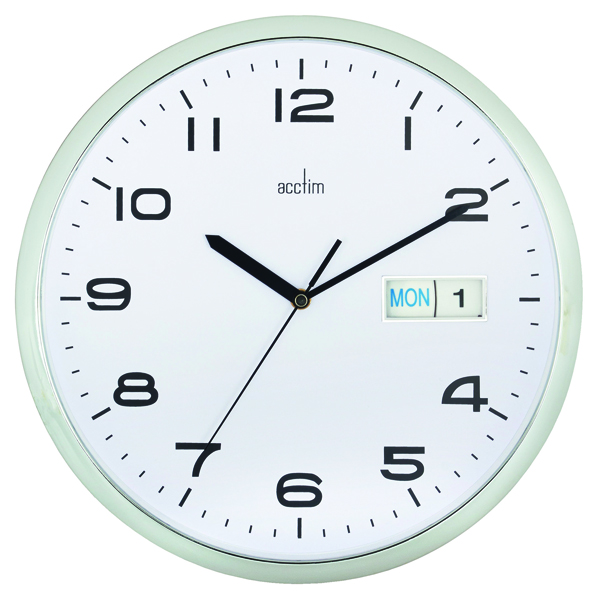 Acctim Chrome/White Supervisor Wall Clock 320mm 21027