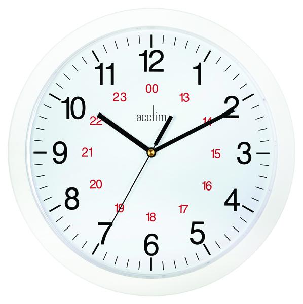 Acctim White Metro 24 Hour Plastic Wall Clock 300mm 21162