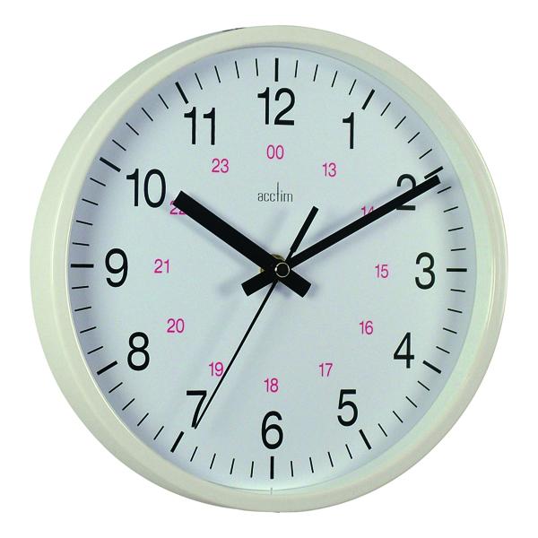 Acctim White Metro 24 Hour Plastic Wall Clock 355mm 21202