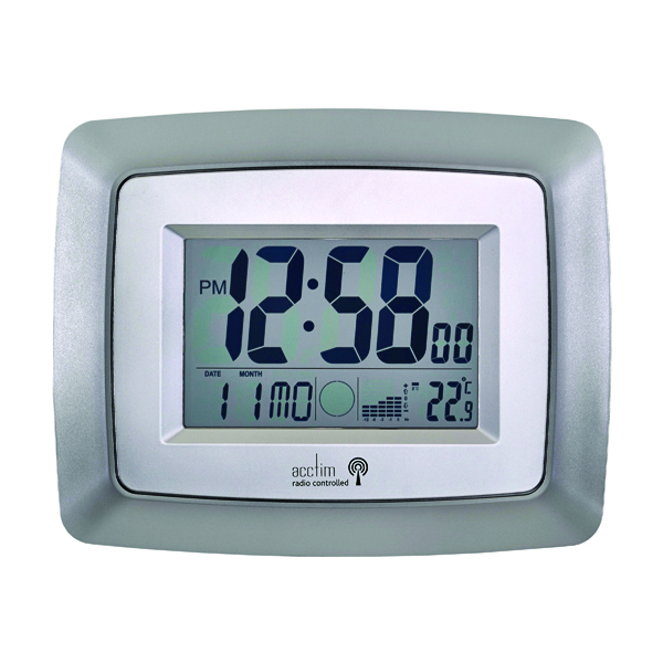 Acctim Silver/Black Avanti Radio Controlled Digital Clock 74467