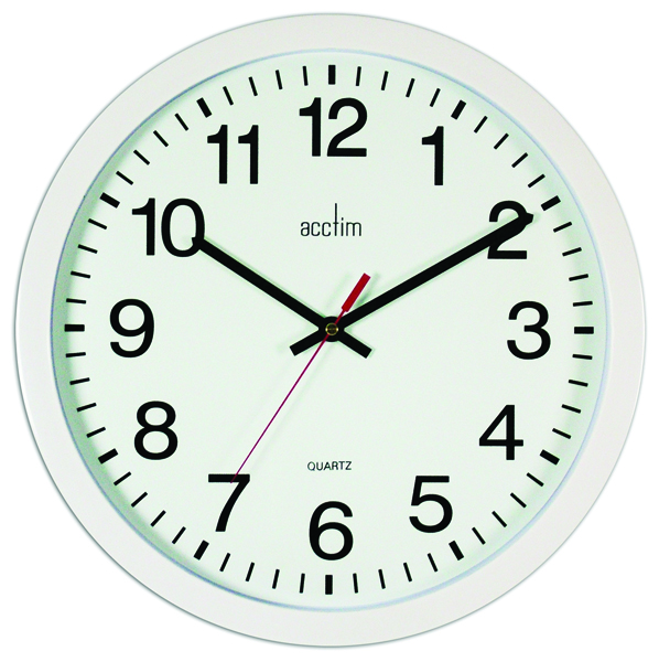 Image for Acctim White Controller Silent Sweep Wall Clock 368mm 93/704
