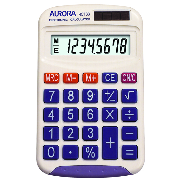 Aurora White 8-Digit Handheld Calculator HC133