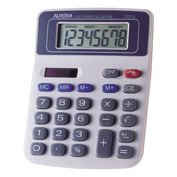 Aurora White/Blue 8-digit Semi-Desk Calculator (Pack of 1) DT210