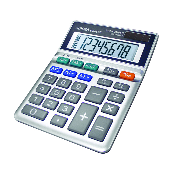 Image for Aurora Grey 8-Digit Semi-Desk Calculator DB453B