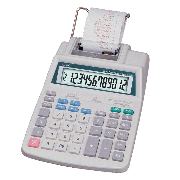 Aurora White 12-digit Printing Calculator (Pack of 1) PR710