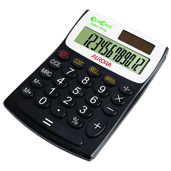 Aurora Black/White 12-digit Semi-Desk Calculator (Pack of 1) EC404