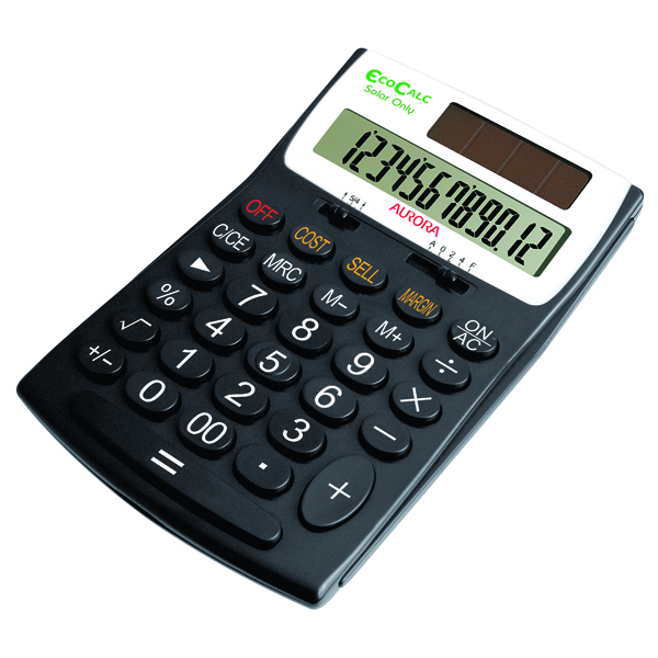 Aurora EcoCalc Desktop Calculator 12-digit Black EC505