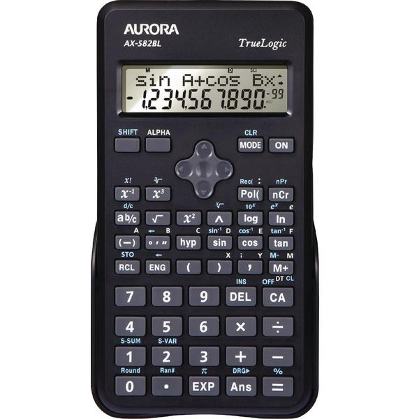 Aurora Black 2-Line Scientific Calculator (Pack of 1) AX582BL