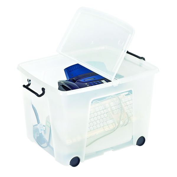Strata Clear Smart Wheeled Box 75 Litre HW676-CLR