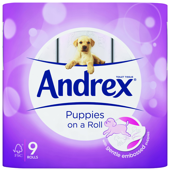 Andrex Pups White Bathroom Tissue (9 Pack) 4978748