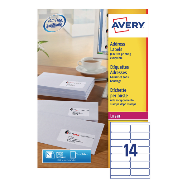 Avery Quickpeel L7163-500 Laser Address Labels 99.1 x 38.1mm (Pack of 7000) L7163-500