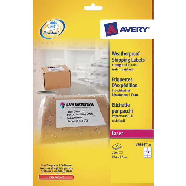Avery Weatherproof White Parcel Label 99.1 x 57mm 10 Per Sheet (Pack of 250) L7992-25
