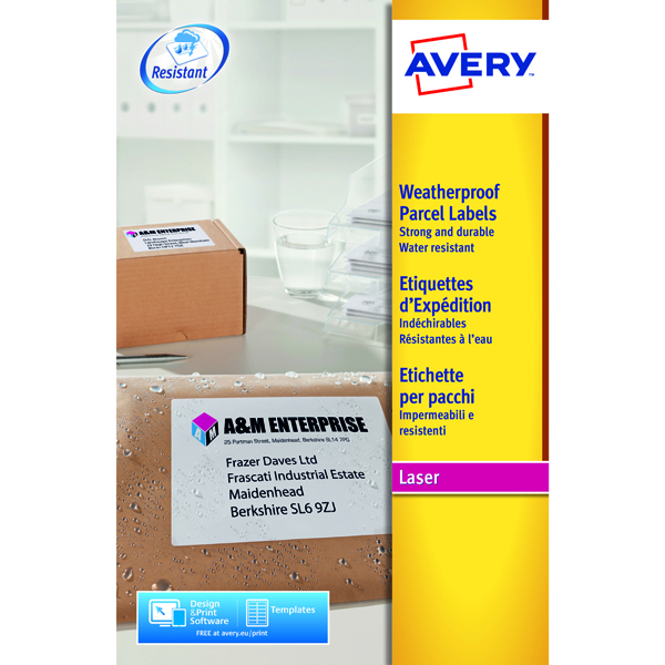 Avery Weatherproof White Parcel Label 99.1 x 67.7mm 8 Per Sheet (200 Pack) L7993-25