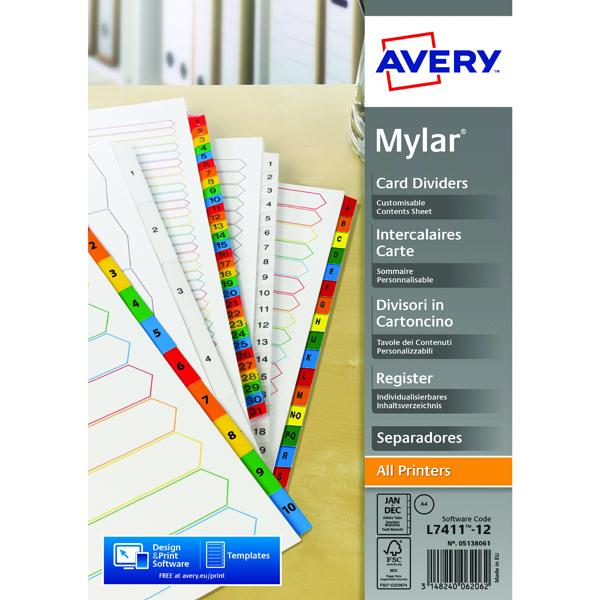 Avery Mylar Alpha Divider Bright White January-December A4 05138061
