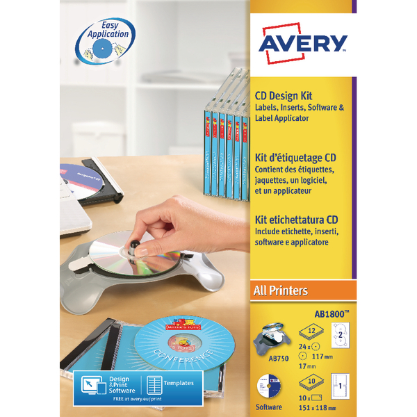 Avery AfterBurner CD/DVD Label System Kit (Pack of 1) AB1800