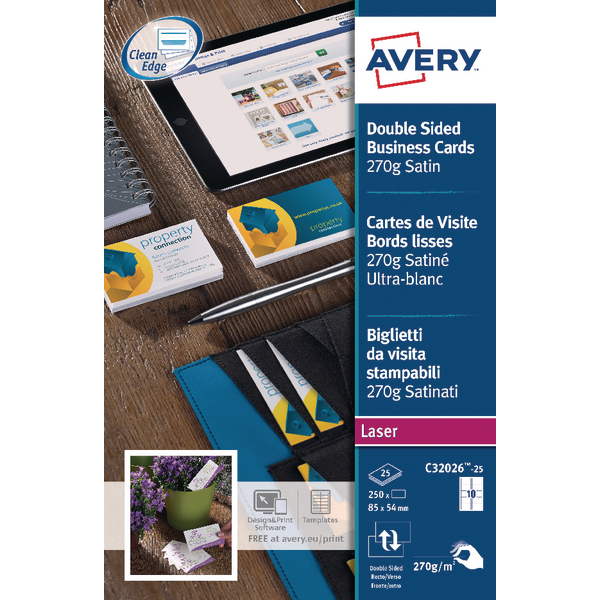 Avery Matte White Double Sided Inkjet Business Cards 85 x 54mm (Pack of 200) C32015-25