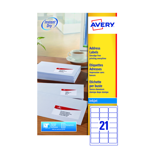 Avery White Inkjet Address Labels 63.5 x 38.1mm 21 Per Sheet (525 Pack) J8160-25