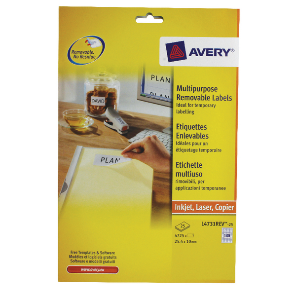 Avery Removable Labels 189 Per Sheet L4731REV-25