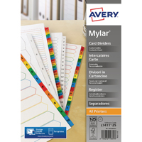 Avery Mylar Bright White 1-25 A4 Numeric Divider 05225061