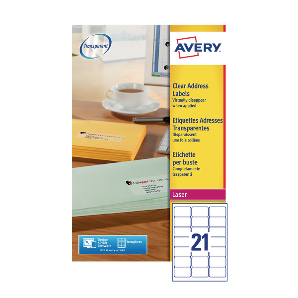 Avery Laser Labels 63.5x38.1 Clear (25 Pack) L7560-25