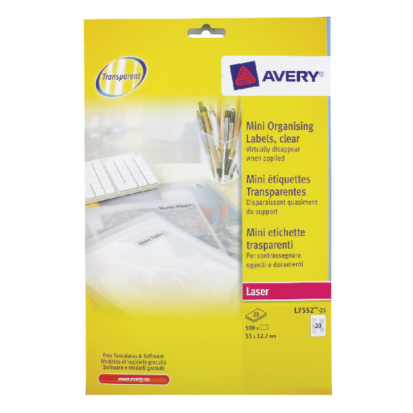 Avery Clear Mini Laser Label 55x12.7mm (Pack of 500) L7552-25