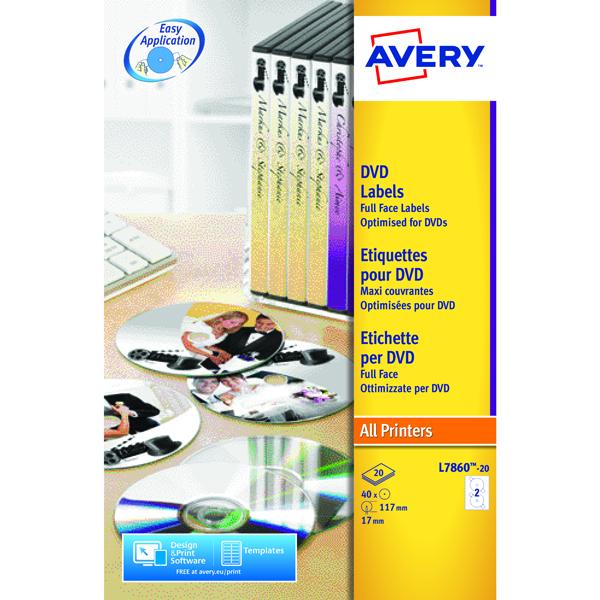 Avery Full Face Laser White DVD Label 2 Per Sheet Pack of 40 L7860-20