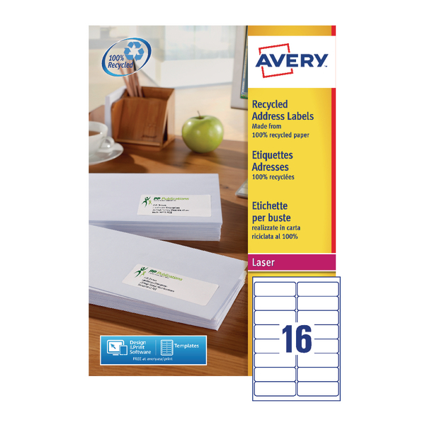Avery Recycled Laser White Address Label 99.1 x 33.9mm 16 Per Sheet (Pack of 1600) LR7162-100