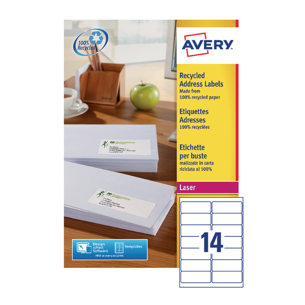 Avery Recycled Laser White Address Label 99.1 x 38.1mm 14 Per Sheet Pack of 1400 LR7163-100