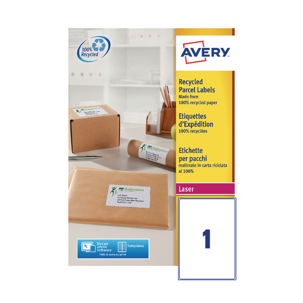 Avery Recycled Laser White Parcel Label 199.6 x 289.1mm 1 Per Sheet Pack of 100 LR7167-100