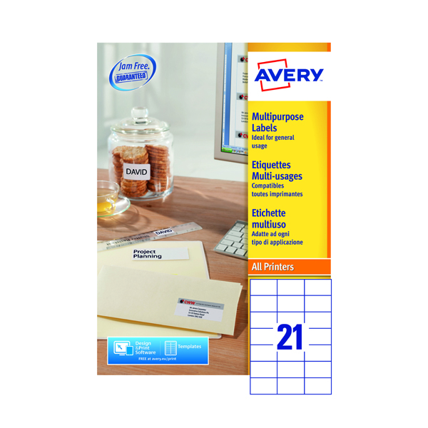 Avery Multipurpose White Labels 21 Per Sheet 70 x 42.3mm (2100 Pack) 3652