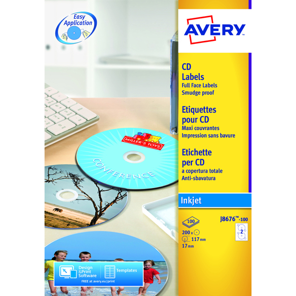 Avery Full Face Inkjet White CD Labels 2 Per Sheet (50 Pack) J8676-25