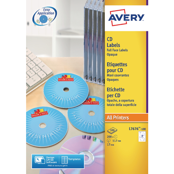 Avery White Full Face CD/DVD Laser Label 2 Per Sheet (25 Pack) L7676-25