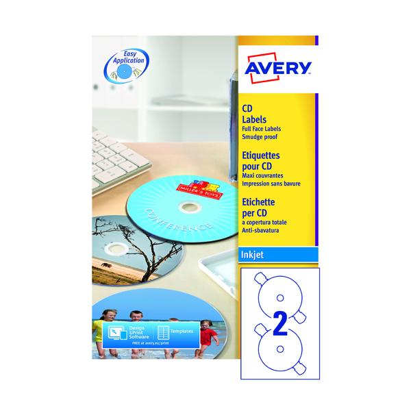 Avery Full Face Inkjet White CD Labels 2 Per Sheet (200 Pack) J8676-100