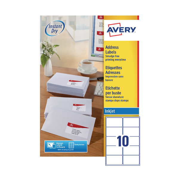 Avery QuickDRY White Inkjet Labels 99.1 x 57mm 10 Per Sheet Pack of 1000 J8173-100