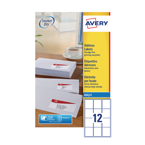 Avery QuickDRY White Inkjet Labels 63.5 x 72mm 12 Per Sheet (1200 Pack) J8164-100