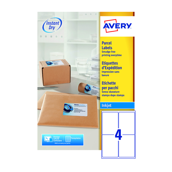 Avery Quick dry White Inkjet Labels 139 x 99.1mm 4 Per Sheet Pack of 400 J8169-100