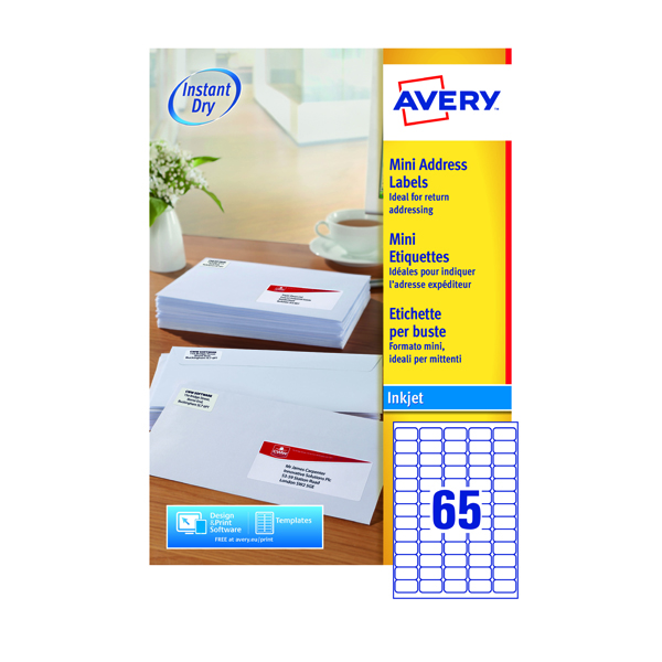 Avery Mini White Inkjet Label 38.1 x 21.2mm 65 Per Sheet (6500 Pack) White J8651-100