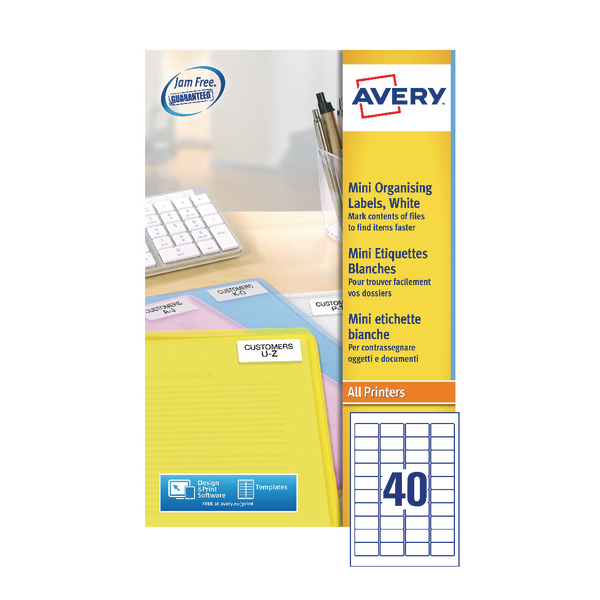 Avery Laser Mini Labels 40x25Sheets White (Pack of 1000) L7654-25