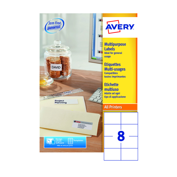 Avery Multipurpose White Labels 8 Per Sheet 105 x 71mm (800 Pack) 3427
