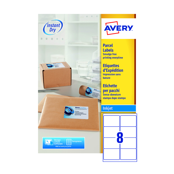 Avery QuickDRY White Inkjet Labels 99.1 x 67.7mm 8 Per Sheet Pack of 800 J8165-100