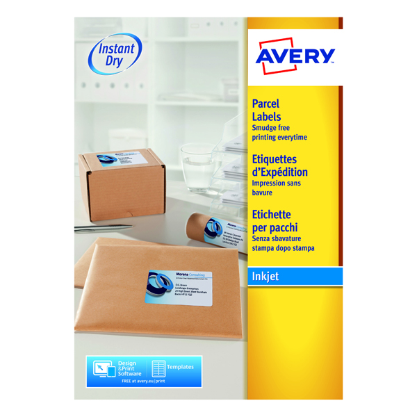 Avery QuickDRY White Inkjet Label 199.6 x 289.1mm 1 Per Sheet (Pack of 100) J8167-100