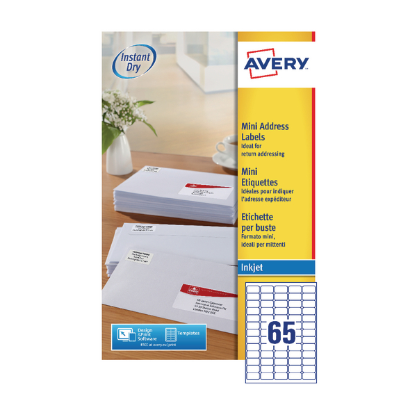 Avery Mini White Inkjet Label 38.1 x 21.2mm 65 Per Sheet Pack of 1625 J8651-25