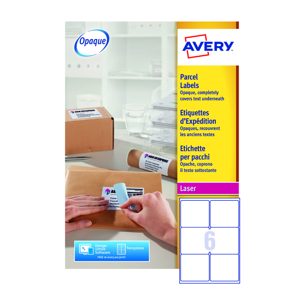 Avery White Laser Parcel Labels 99.1 x 93.1mm 6 Per Sheet Pack of 1500 L7166-250