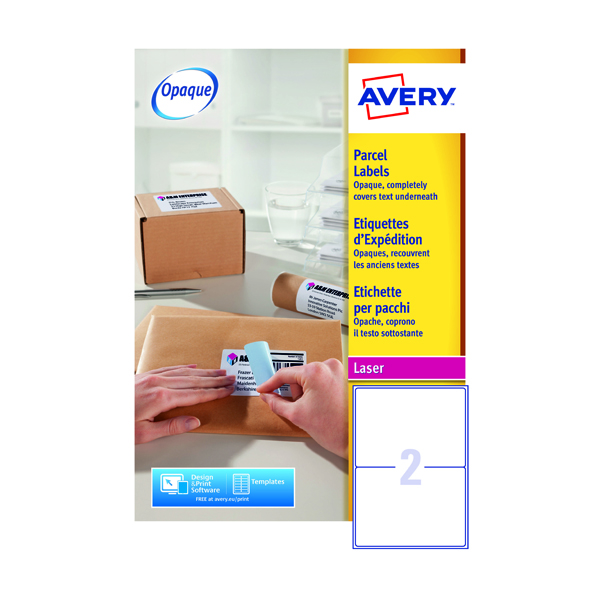 Avery White Laser Parcel Labels 199.6 x 143.5mm 2 Per Sheet Pack of 200 L7168-100
