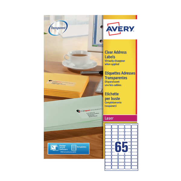 Avery Clear Mini Laser Labels 38x21mm (1625 Pack) L7551-25