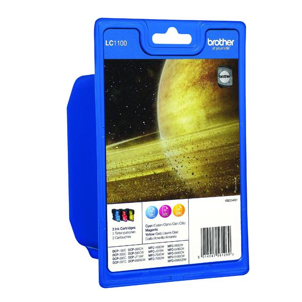Brother LC-1100 Cyan/Magenta/Yellow Inkjet Cartridge (Pack of 3) LC1100RBWBP